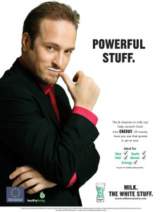 "Milk ad showing Derren Brown with a milk mustache; reads: ""Powerful stuff"""