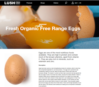 "Screen capture of LUSH's online statement about their ""Fresh Organic Free Range Eggs"""