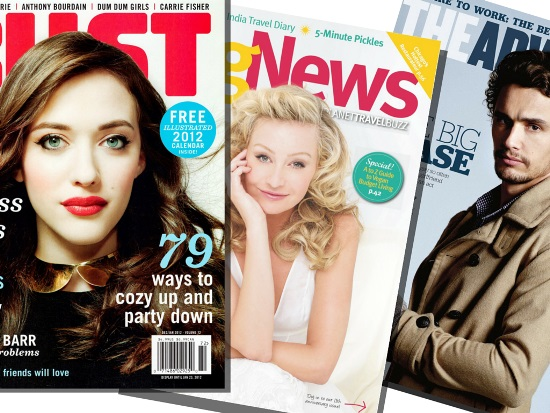 Cover of BUST magazine showing a white woman, cover of VegNews showing a white woman, and cover of The Advocate showing James Franco