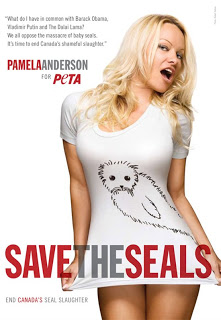 Pamela Anderson models for 'Save the Seals' PETA campaign