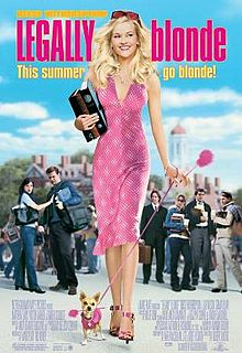 Movie poster for Legally Blonde, shows Reese Witherspoon dressed in heels with a tight dress and blonde hair blowing in the wind while she looks up to the sky, small chihuahua in a pink sweater at her heels